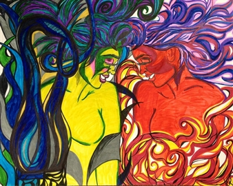 JCK - Twisted Sisters Watercolor on Canvas, Drawings