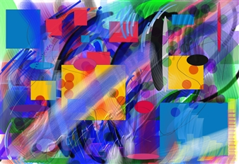 Bill Dixon - Square One Digital Hand Made Painting on Canvas, Digital Art