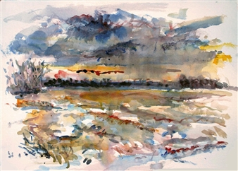 James Chisholm - Newburyport Marsh Watercolor on Paper, Paintings