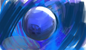 Bill Dixon - Sphere Digital Hand Made Painting on Canvas, Digital Art
