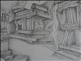 Study of Books<br>Pencil on Paper, Drawings
