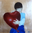My Heart Goes to You *Art to Heart<br>Oil & Gold Leaf on Panel, Paintings
