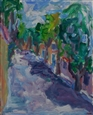 Allee de Verdun in Goult, France<br>Acrylic on Canvas, Paintings