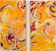 Orange diptych<br>Acrylic & Volcanic Sand on Canvas, Paintings