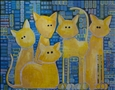 A Quorum of Cats<br>Acrylic & Ink on Canvas, Paintings