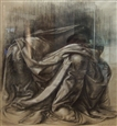 Study of Da Vinci Drapery Study<br>Chalk & Pencil on Paper, Drawings