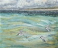 Feeding Terns<br>Watercolor, Wax & Oil Crayon on Clayboard, Paintings