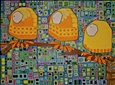 Three Little Birds<br>Acrylic & Ink on Canvas, Paintings