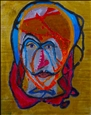 Ensnared Head<br>Acrylic on Cardboard, Paintings