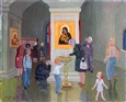 In Church&lt;br>Oil on Canvas, Paintings