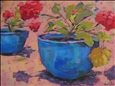 Red Geraniums<br>Acrylic on Canvas, Paintings