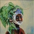 Surma Girl Ethiopia<br>Oil on Canvas, Paintings