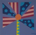 Striped and Circled Flower<br>Acrylic on Canvas, Paintings