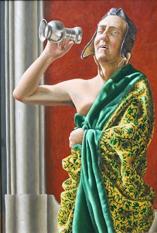 Anton Hoeger - The King is Drinking Oil on Panel, Paintings