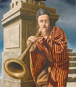 Anton Hoeger - Second Wind Player Oil on Panel, Paintings