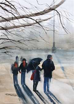 Tammy Phillips - The Park Watercolor on Hand Made Paper, Paintings
