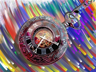 Bill Dixon - What Color is Time Digital Hand Made Painting on Canvas, Digital Art