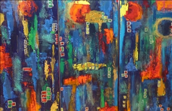 Zivi Aviraz - Bright Moon, triptych Acrylic on Canvas, Paintings