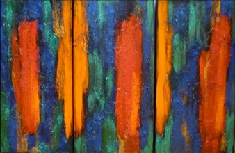 Zivi Aviraz - Arizona, triptych Mixed Media on Canvas, Paintings