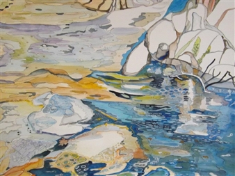 E. Halfpenny - The Shores of Gitchigumi Watercolor & Ink on Paper, Paintings